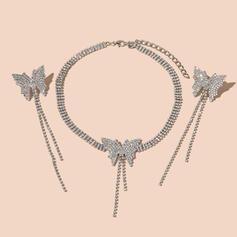 Aleación Diamantes de imitación con De la mariposa Diamantes de imitación Sistemas de la joyería Collares Pendientes 3 PIEZAS