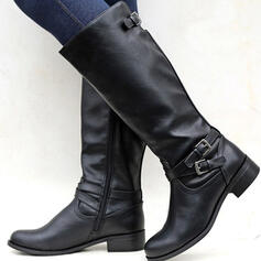 Women's PU Chunky Heel Boots Round Toe With Buckle Zipper Solid Color shoes