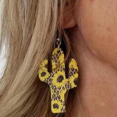 Sunflower Cactus Alloy PU Women's Earrings 2 PCS