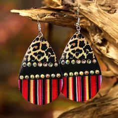 Shining Leopard Drop Shape Rhinestones PU Women's Earrings 2 PCS