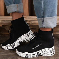 Women's Flying Weave Platform Boots With Lace-up shoes