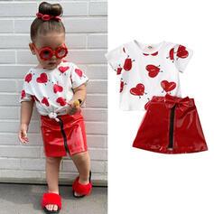 2-pieces Toddler Girl Bowknot Heart Zip-Up Print Cotton Set