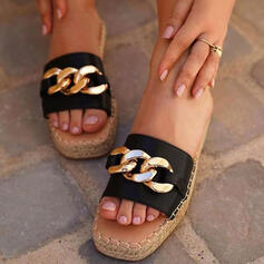 Women's PU Flat Heel Sandals Peep Toe Slippers With Chain shoes