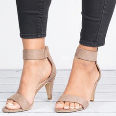 Women's Fabric Cone Heel Sandals Pumps With Zipper shoes