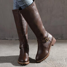 Women's PU Flat Heel Boots Knee High Boots With Buckle Solid Color shoes
