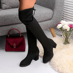 Women's Suede Chunky Heel Mid-Calf Boots Round Toe With Lace-up Solid Color shoes