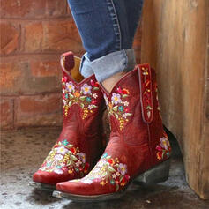 Women's PU Chunky Heel Mid-Calf Boots Martin Boots Riding Boots Pointed Toe With Embroidery Floral Print shoes
