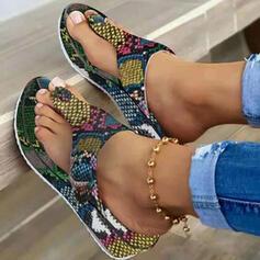 Women's PU Flat Heel Sandals Flats Platform Flip-Flops Slippers With Animal Print shoes