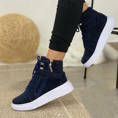 Women's Suede Flat Heel Flats High Top With Zipper Lace-up Solid Color shoes