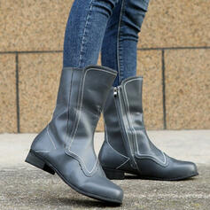 Women's Leatherette Low Heel Boots Combat Boots With Zipper Solid Color shoes