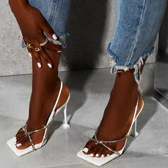 Women's PU Stiletto Heel Sandals Pumps Square Toe With Rhinestone shoes