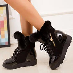 Women's PU Wedge Heel Boots Winter Boots With Zipper Faux-Fur Solid Color shoes
