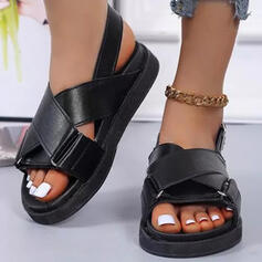 Women's PU Wedge Heel Sandals Peep Toe With Hollow-out Solid Color shoes