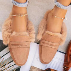 Women's PU Flat Heel Flats Slide & Mules With Faux-Fur Solid Color shoes