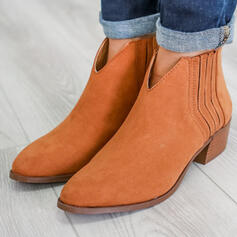 Women's Suede Chunky Heel Ankle Boots Round Toe With Zipper Solid Color shoes