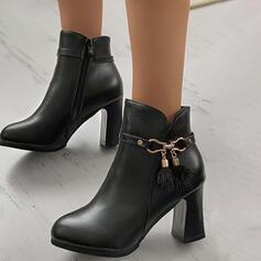 Women's PU Chunky Heel Ankle Boots Heels Round Toe With Buckle Solid Color shoes