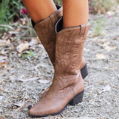 Women's PU Chunky Heel Boots With Solid Color Embroidery shoes
