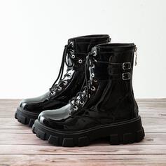 De mujer PU Tacón ancho Botas Botas al tobillo Martin botas con Cordones Color sólido zapatos