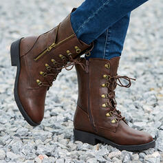 Women's PU Chunky Heel Martin Boots With Lace-up Solid Color shoes