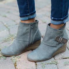 De mujer Tela Tipo de tacón Botas al tobillo Encaje con Hebilla Cremallera Color sólido zapatos