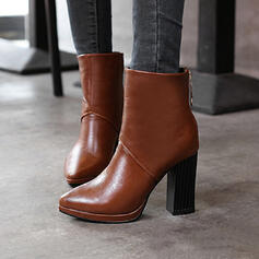 Women's PU Cone Heel Ankle Boots Pointed Toe With Zipper shoes