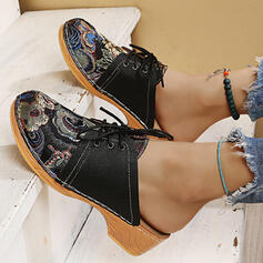 Women's PU Others Round Toe Mules Slip On With Lace-up Print shoes