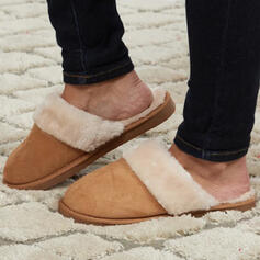 Women's Suede Flat Heel Flats Round Toe With Faux-Fur Splice Color shoes