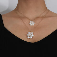 Fashionable Sexy Vintage Simple Alloy Imitation Pearls With Pearls Women's Ladies' Girl's Necklaces 2 PCS