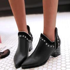 De mujer PU Tacón ancho Botas al tobillo Dedo del pie puntiagudo con Rivet Color de empalme zapatos