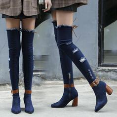 Women's Denim Chunky Heel Boots With Buckle Zipper shoes