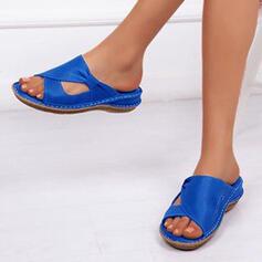 De mujer Cuero Tipo de tacón Sandalias Planos Chancletas con Hebilla Agujereado zapatos