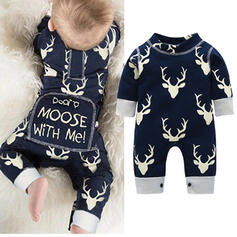 Baby Letter Cartoon Animal Print Cotton Jumpsuit