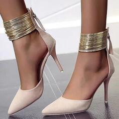 Women's Suede Stiletto Heel Pumps With Zipper shoes
