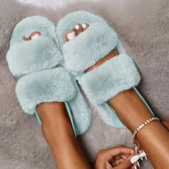 Women's Suede Flat Heel Peep Toe Slippers With Faux-Fur shoes
