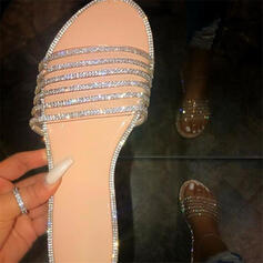 Women's PU Flat Heel Sandals Peep Toe Slippers With Rhinestone shoes