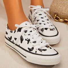 Women's Canvas Flat Heel Flats Round Toe With Animal Print Lace-up shoes