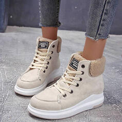 Women's Suede Flat Heel Boots With Lace-up shoes