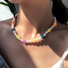 Colorido Bohemio Resina con Perlas Collares