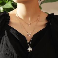 Hermoso En capas Aleación Diamantes de imitación con De la mariposa Ojo Árbol De Familia Collares