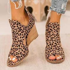 Women's Cloth Fabric Wedge Heel Sandals Peep Toe Heels With Animal Print shoes