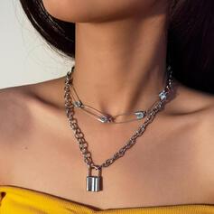 Fashionable Vintage Layered Alloy Women's Ladies' Necklaces 2 PCS