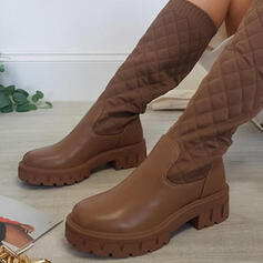 Women's PU Chunky Heel Mid-Calf Boots With Elastic Band Solid Color shoes
