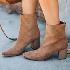 Women's Suede Chunky Heel Ankle Boots Pointed Toe Winter Boots With Solid Color shoes