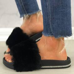 De mujer Cuero Brillo Chispeante Tacón plano Sandalias Plataforma Encaje Pantuflas con Rhinestone Piel zapatos