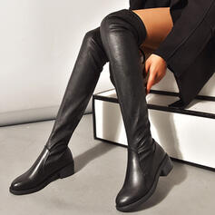 Women's PU Chunky Heel Boots With Lace-up Solid Color shoes