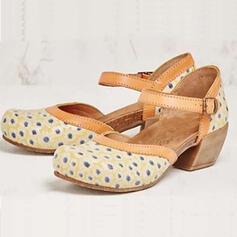 De mujer PU Tacón ancho Salón Encaje con Hebilla Agujereado zapatos