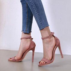 Women's Suede Stiletto Heel Sandals Pumps Peep Toe With Hollow-out Solid Color shoes