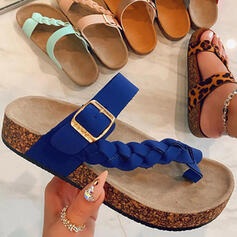 Women's Microfiber Wedge Heel Sandals Peep Toe Slippers Toe Ring With Buckle Solid Color shoes