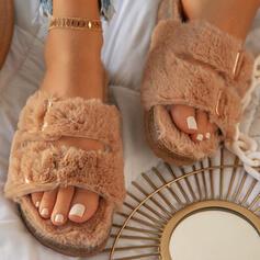 Women's Suede Flat Heel Peep Toe Slippers With Buckle Faux-Fur shoes