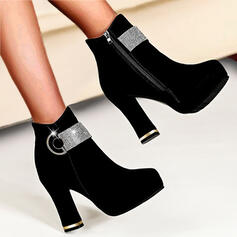 Women's Suede Chunky Heel With Rivet shoes